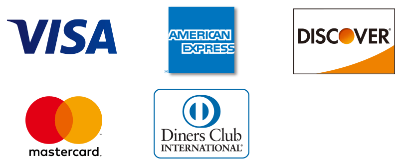 VISA・Mastercard・American Express・Diners Club・DISCOVER