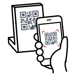 お客様がスマートフォンでお店のバーコードを読み取る