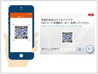 セブン銀行ATMに表示されたQRコードを読み取る